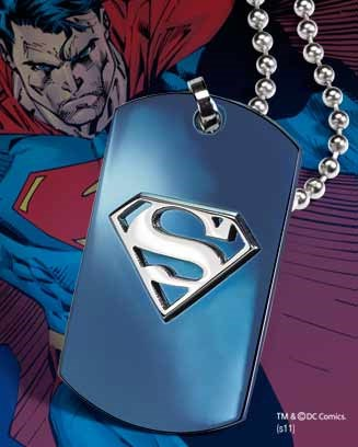 Superman Edelstahl-Erkennungsmarke Blue Logo